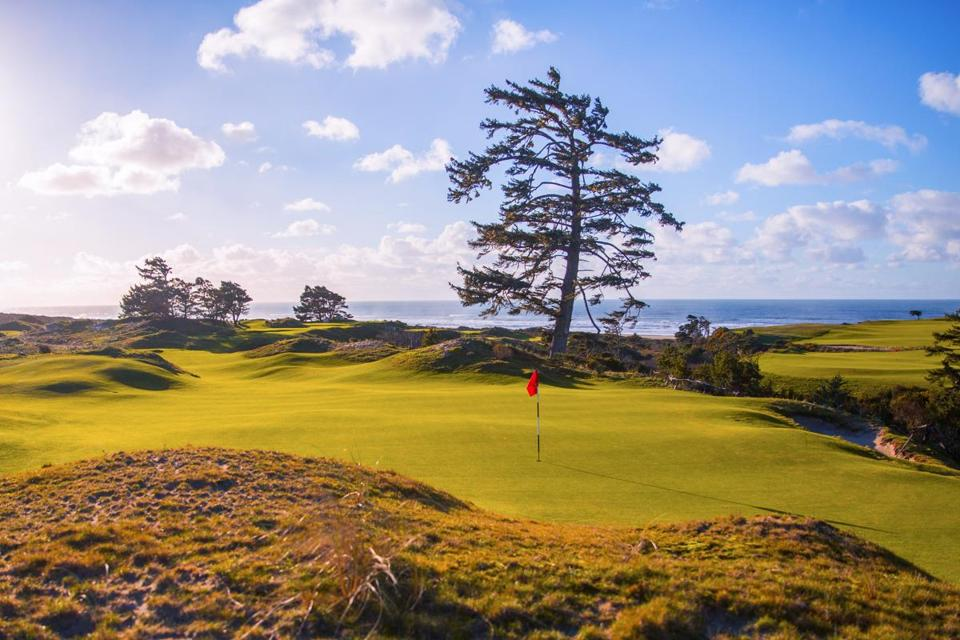 The 11th green at Bandon Preserve, a 13-hole par-3 course at Bandon Dunes Golf Resort.